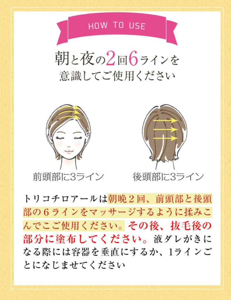トリコチロアールの使い方、頭皮への塗り方